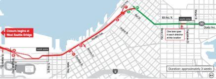 SR 99′s three-week closure will begin January 11.  IMAGE:  COURTESY WSDOT