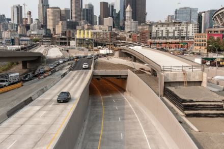 The new tunnel's southbound exit.  IMAGE:  COURTESY WSDOT