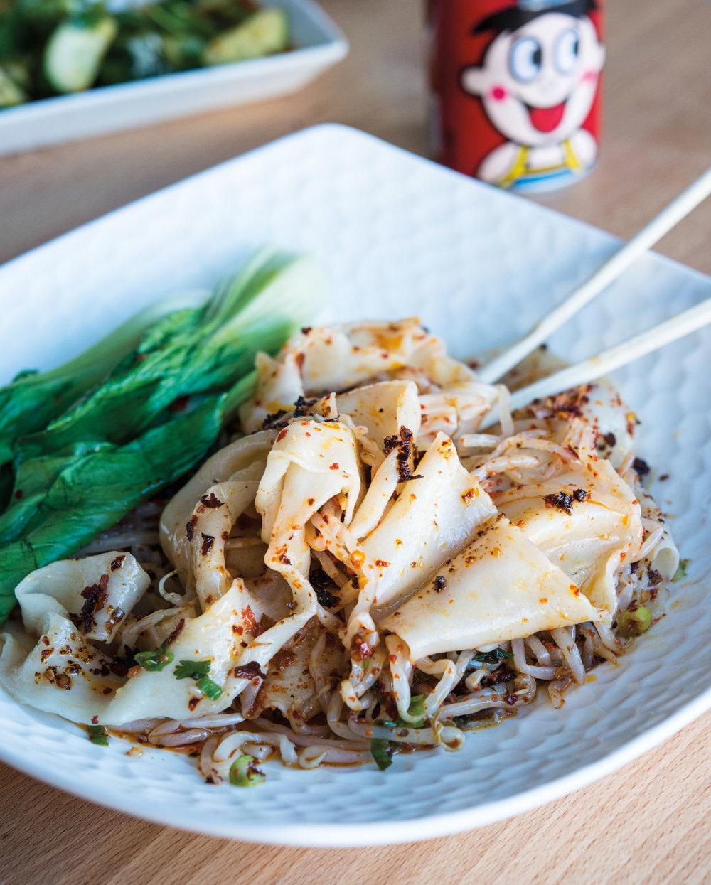 Hot oil noodles at Xi'an Noodles  IMAGE:  SARAH FLOTARD