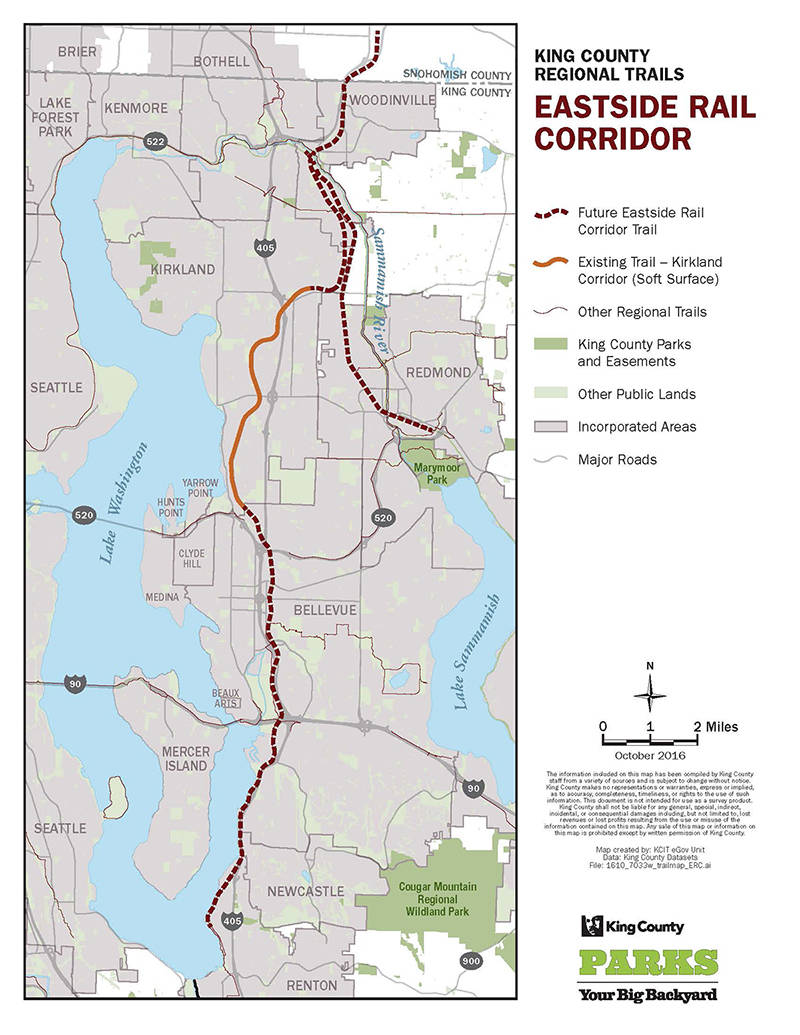 The Eastside Rail Corridor will connect the existing Kirkland trails with Snohomish County, Redmond, Woodinville, Bellevue and Renton. Photo courtesy of King County
