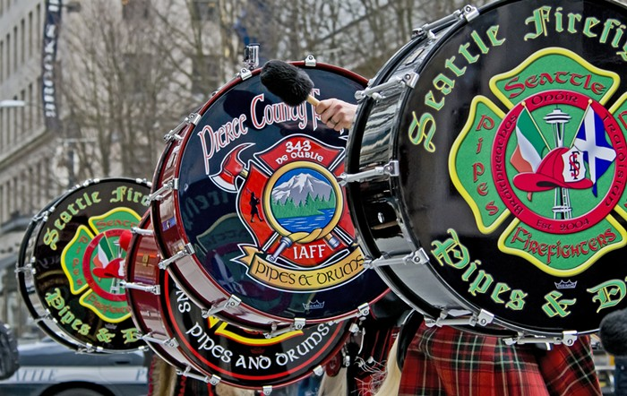 Catch the Seattle Firefighters Pipes & Drums at the    St. Patrick's Day Parade    (Sat March 16) and at    various Irish pubs    on St. Patrick's Day (Sun March 17). CHRIS PICARD