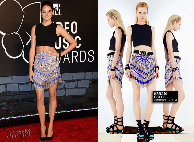 WHO: Shailene Woodley WHERE & WHEN: 2013 MTV Video Music Awards on August 25, 2013. WEARING: Emilio Pucci top and skirt, Casadei shoes & Chad Ypon jewelry. - See more at: http://thefashion-court.com/2013/08/shailene-woodley-2013-mtv-video-music-awards/#sthash.9RpCbZvy.dpuf