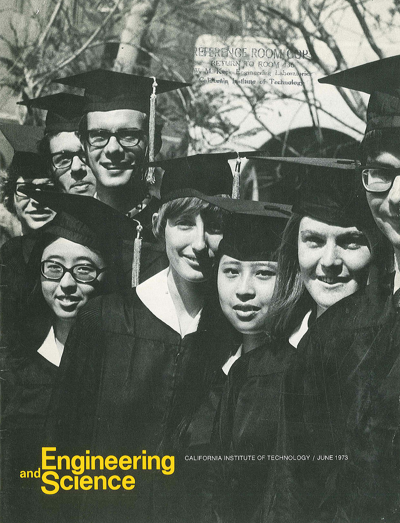 Flora Wu (BS '73), Stephanie Charles (BS '73), Deborah Chung (BS '73), and Sharon Long (BS '73) were the first women to earn undergraduate degrees at Caltech.