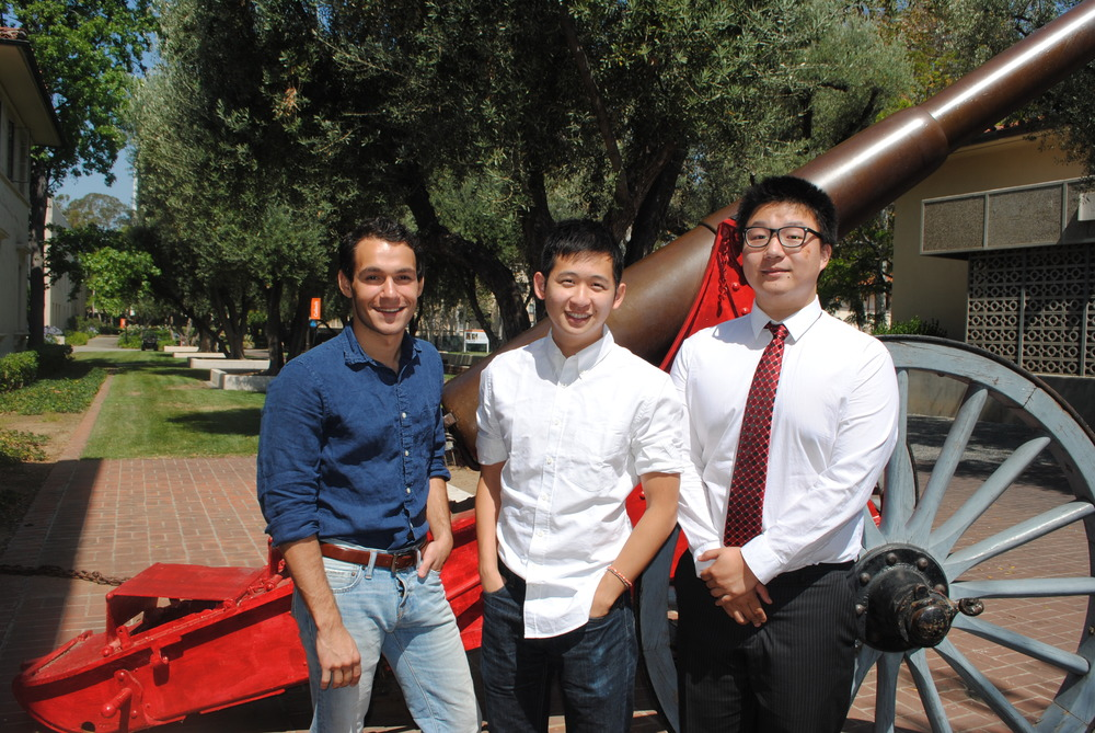 (l to r) Stamps Leadership Scholars Jetson Leder-Luis (BS '14), Randall Lin (BS '14), and Ted Xiao (BS '14) (image: Lisa Vandergriff/Caltech).