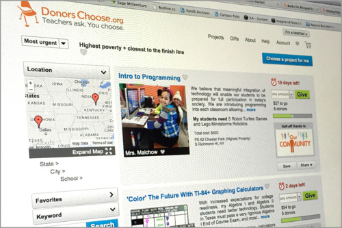 Screen image of DonorsChoose.org, a nonprofit that matches public school projects with donors.