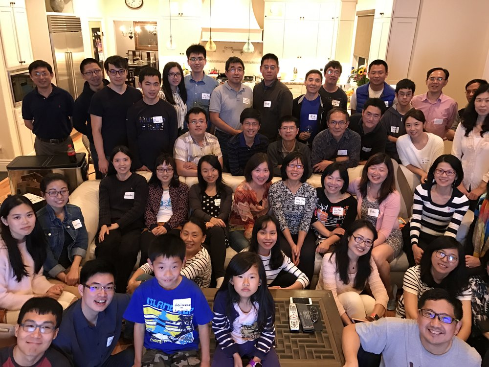 "The ""Happy C Family"" at a Caltech C Alumni Bay Area party in 2016"