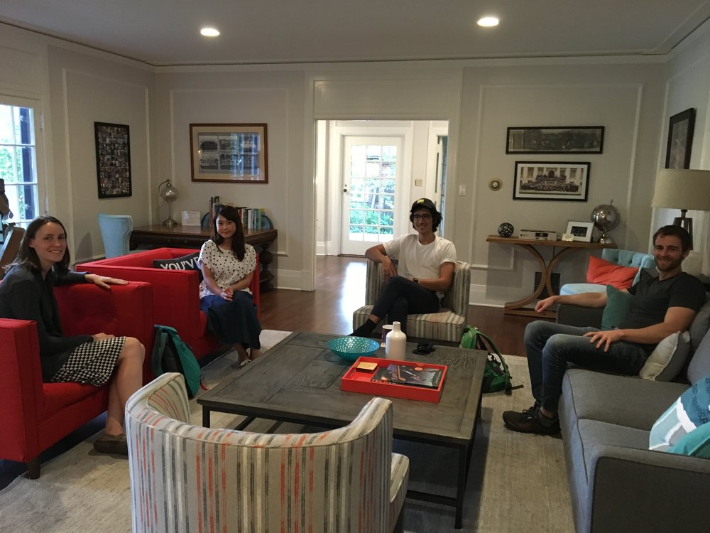 Mary Dunlop (PhD '08) holds office hours for Caltech students at Alumni House.