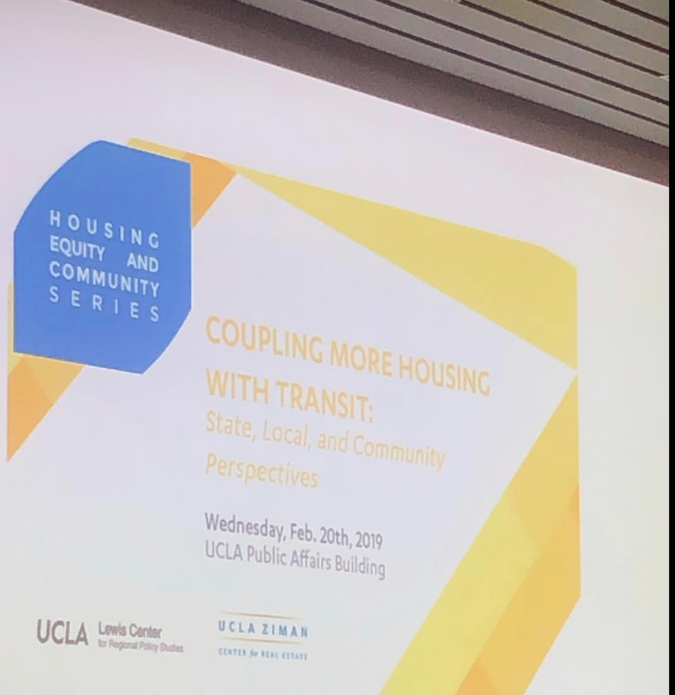 Presentation at UCLA Luskin School of Public Affairs on opportunities for coupling housing and transit in order to tie in housing goals with environmental sustainability and social justice goals.