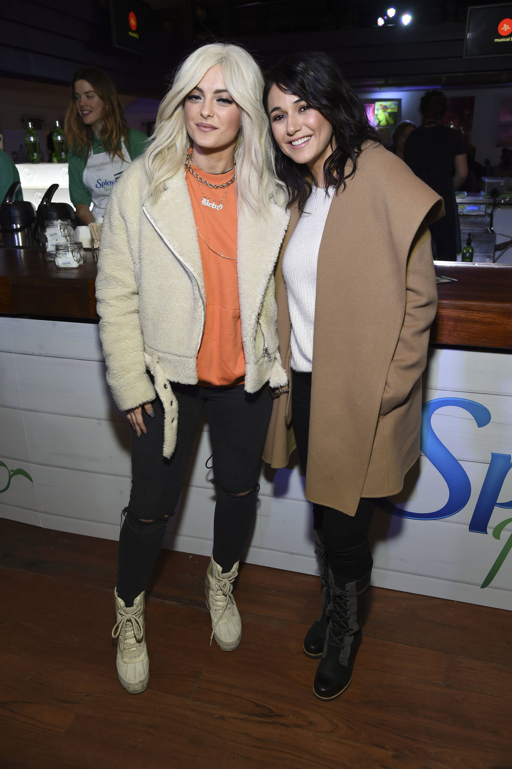 Emmanuelle Chriqui and Bebe Rexha enjoying some coffee sweetened with Splenda while hanging on Main Street in Park City during the Sundance Film Festival - Jan 2017