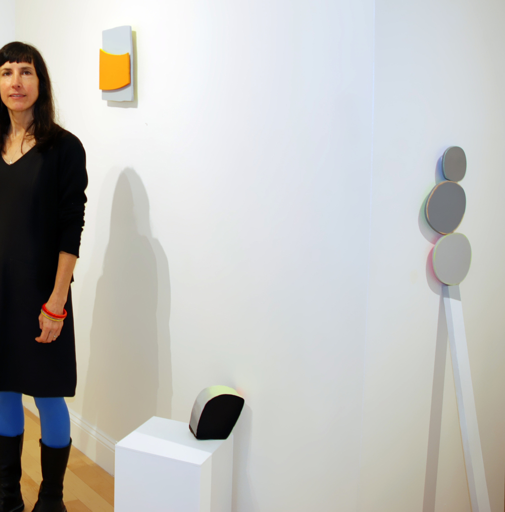 Lisa Perez with her work in the AS220 Project Space Gallery, October 4, 2014.