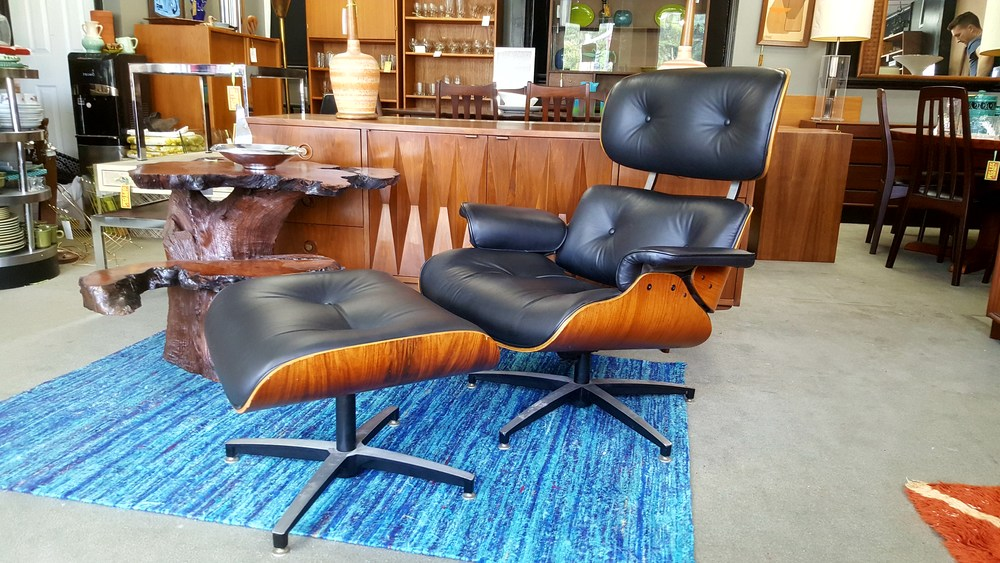 Eames Style Lounge Chair With Ottoman In Black Leather And Rosewood By  Frank Doerner For Selig