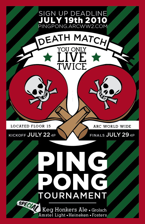 Poster I Designed for LB/Arc's Annual Ping Pong Tourney
