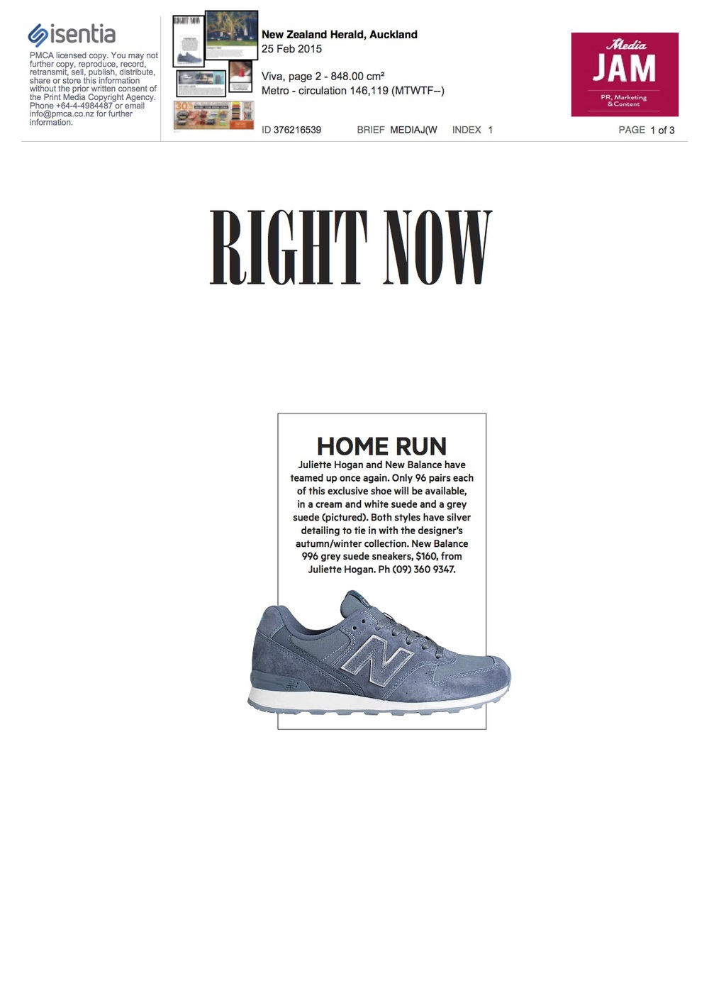 1New Balance feat Juliette Hogan Home Run NZ Herald VIVA 25 Feb 2015.jpg