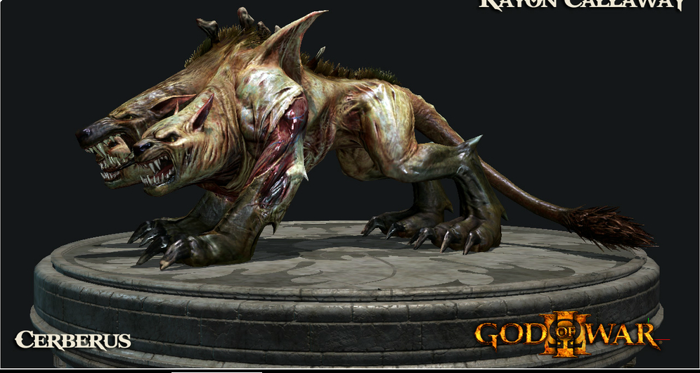 Cerberus was one of the monsters from past GOW games that we wanted to make rideable in GOWIII. The main challenge was making sure Kratos didn't look like he was just a passenger while posed on top of the beast. Even though the easy way out is to have Kratos in a static pose on top of the Cerberus, we made sure Kratos looked in control and that the player was actually controlling Kratos and not the beast as a simple vehicle.