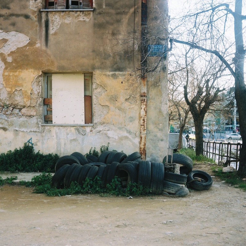 A collection of tyres on the Prosfygika estate in Athens.