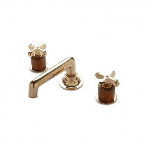 The Henry Deck Mounted Lavatory Faucet with Teak Cylinder and Metal Cross Handles in Antique Brass by Waterworks