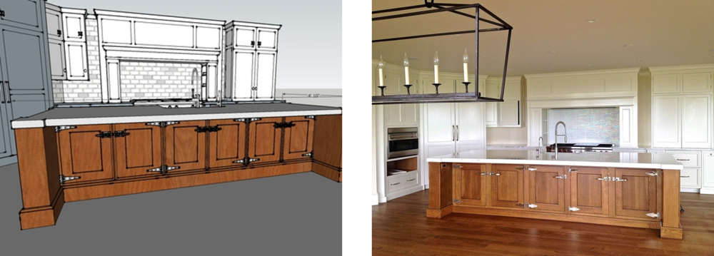 Concept sketches are realized in the final build-out of this 1920's inspired modern kitchen