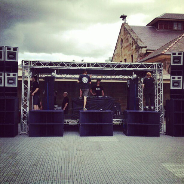 Setting up for the Crosstown Rebels 2013 Australian Tour REBELRAVE!! 12pm today @ SCA!!