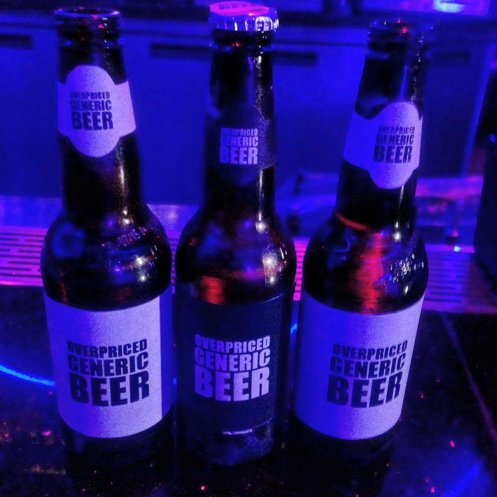 Custom parody labels for the beer bottles to avoid copyright infringement