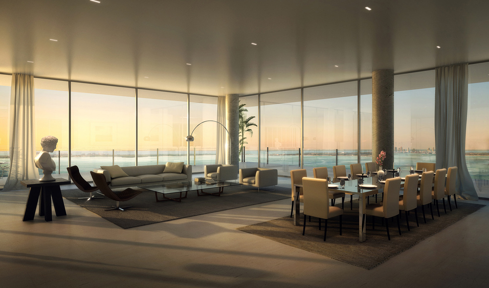 Grove at Grand Bay Penthouse | Rendering via Azeez Bakare Studios