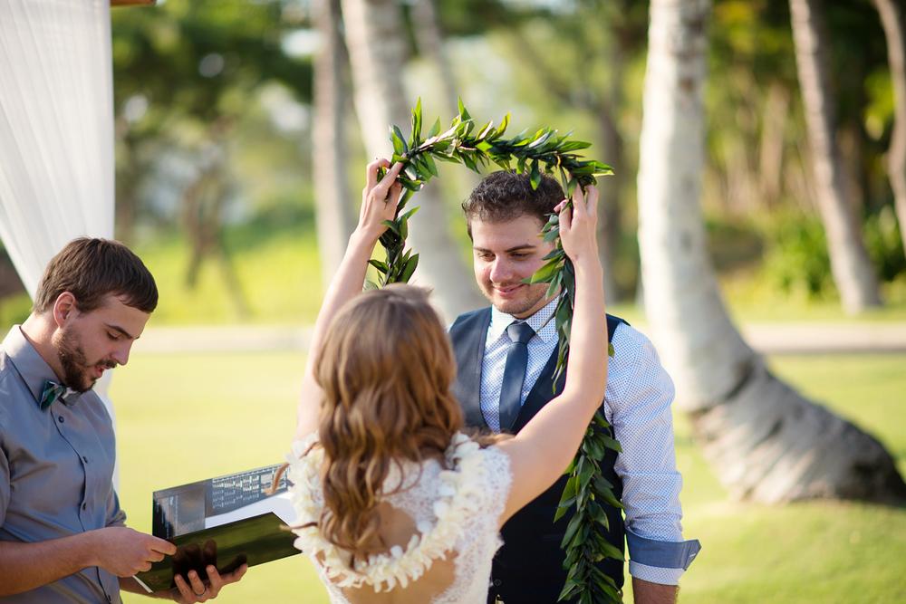 Maui Wedding Photography - Exchanging leys