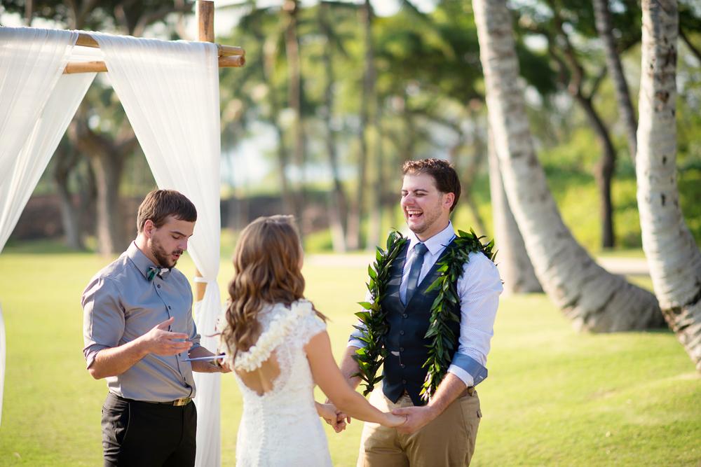 The groom is happy