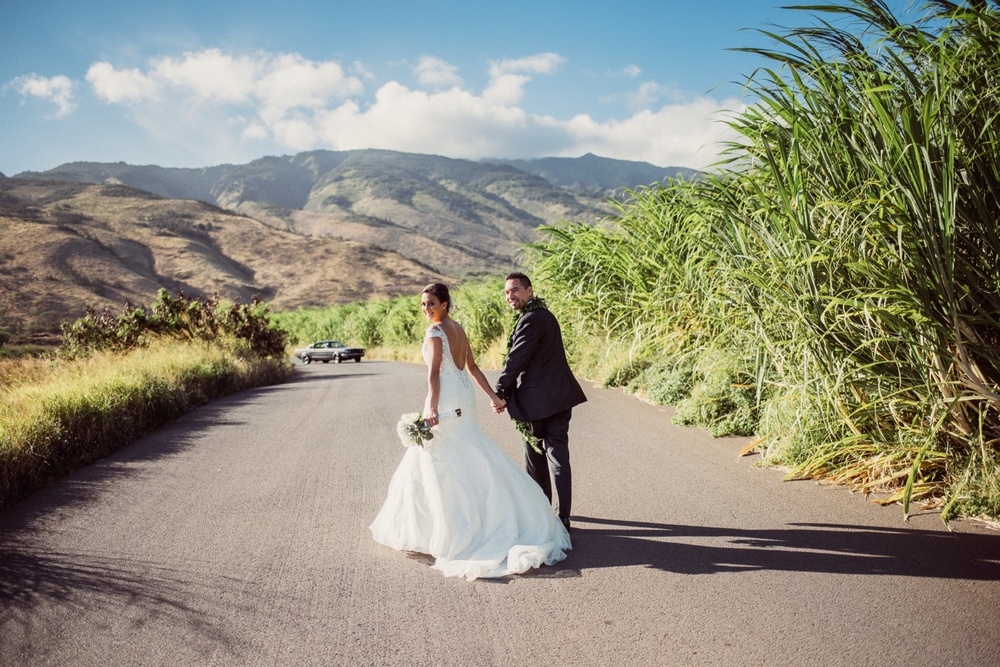 Maui Wedding Photography - Bride & Groom with a 1955 Mustang