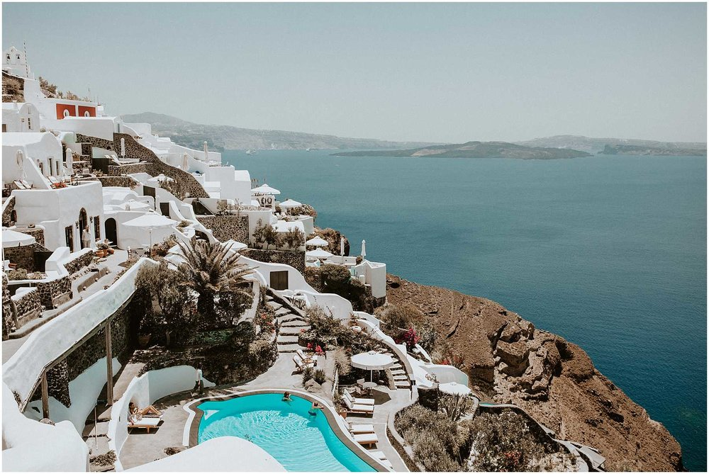 Cliffside views of Oia in Santorini Greece