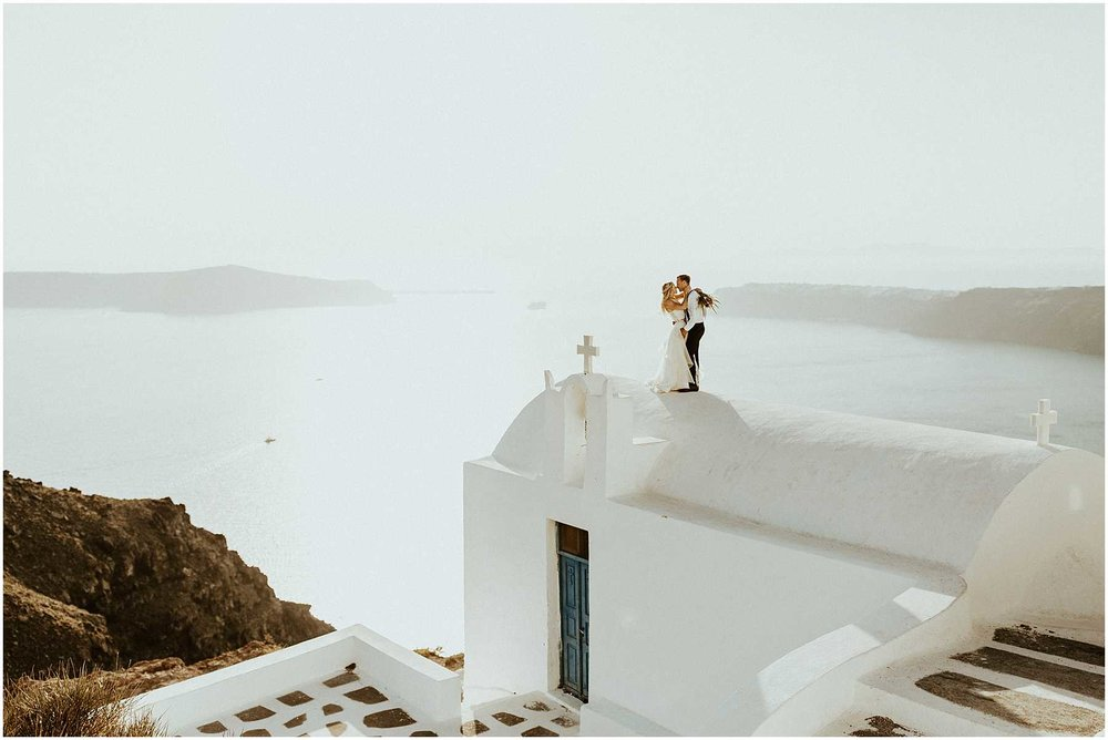 An adventurous elopement in Santorini Greece