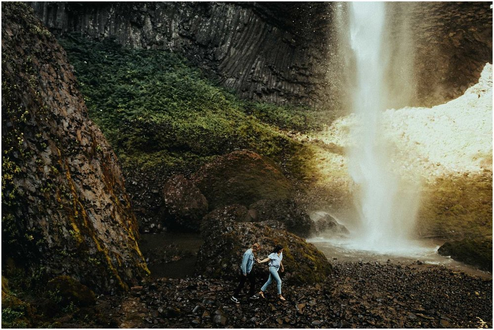 A bride and groom elope at Latourell Falls in OregonAdventurous, Latourell Falls Couples Shoot