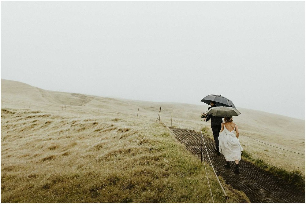 A couple walking to their ceremony spot for their elopement in Iceland