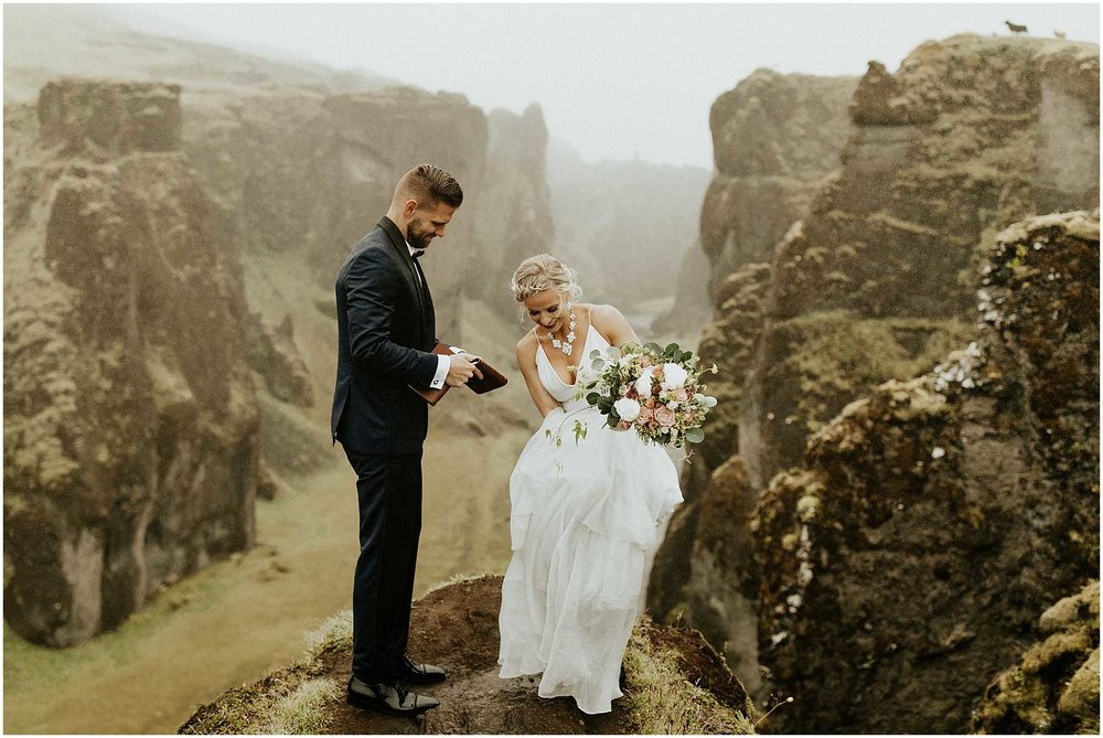 A bride and groom eloping in Iceland