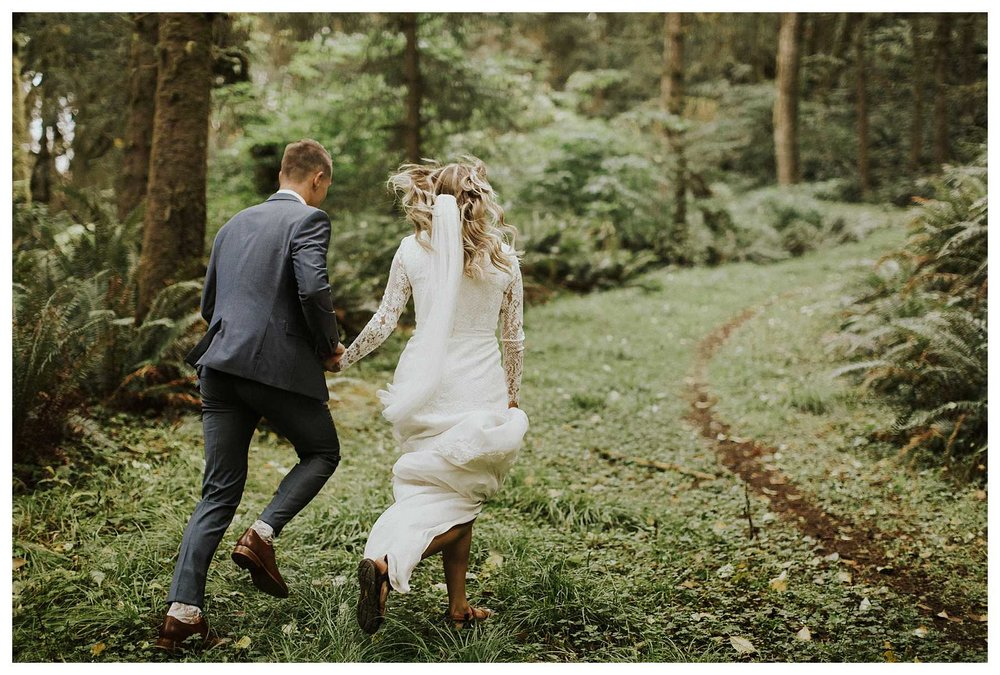 A bride and groom on the Oregon Coast