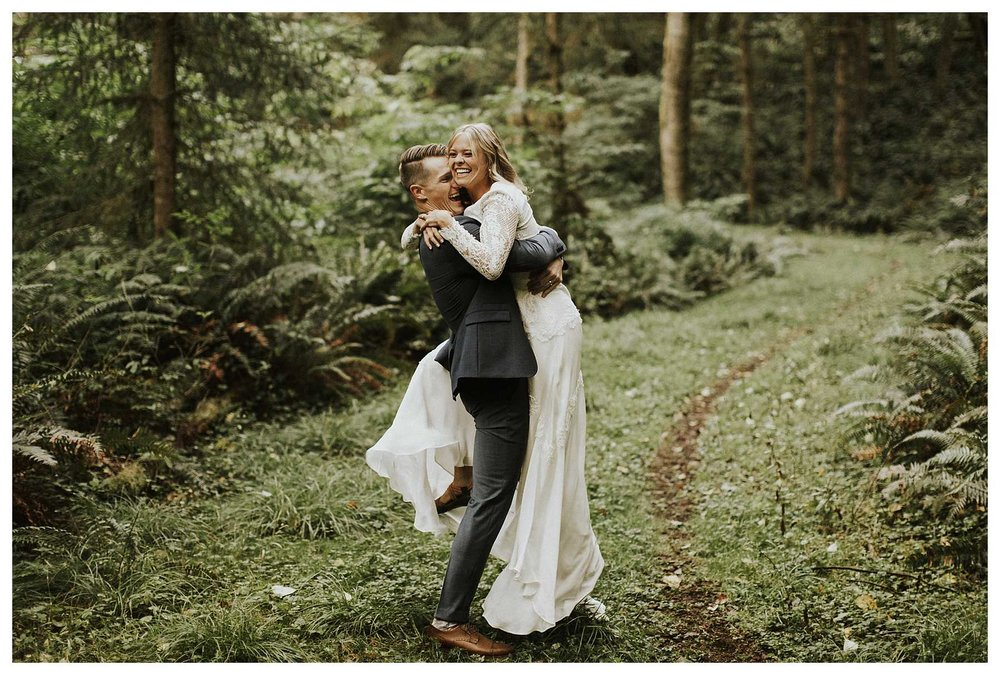 A bride and groom at Ecola State Park