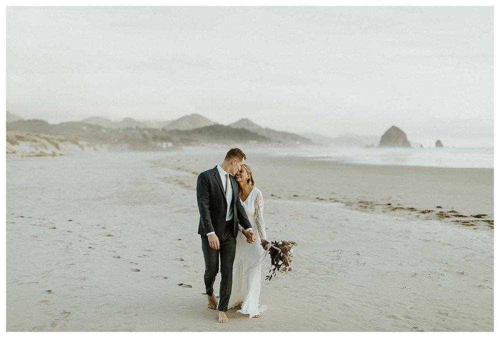 Sunset wedding photos at Cannon Beach, OR
