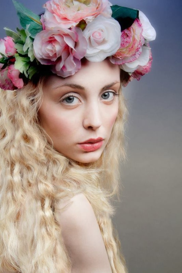 Flower Garland - ethereal beauty shoot.     London Muse student Sarah recently commissioned a flower garland to use as part of her beauty photo shoot.     The brief was ethereal beauty, which I was über excited about, allowing me to get my creative juices flowing - I created a voluminous tonal crown using artificial silk roses, peonies and mini ranunculus along with green foliage for authenticity.    I have been waiting (in anticipation!) to see the final shot and it didn't disappoint! Sarah has done an amazing job and I'm equally chuffed with the look of the garland - you'd never guess that that flowers were artificial.    The garland works perfectly with the model's doe-eyed, dreamy look, porcelain skin tone and loose blond curls. The soft colours add to the romantic feel of the shoot - it really is visually stunning!    This was a great project to work on -  allowing me to create a whimsical and exaggerated garland - thank you for choosing me Sarah!    For details on the products used, you can contact Sarah via Twitter: @SarahLouHines     For more pictures of my flower garlands or to contact me please refer to my website   www.katebalding.com       X