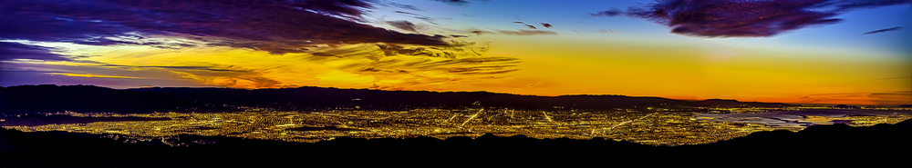 HDR panoramic photograph of Silicon Valley just after sunset from Diablo Range to its east. Panorama stretches from the southern tip of Blossom Valley to San Francisco Bay, San Francisco and the Marin Headlands to the north.