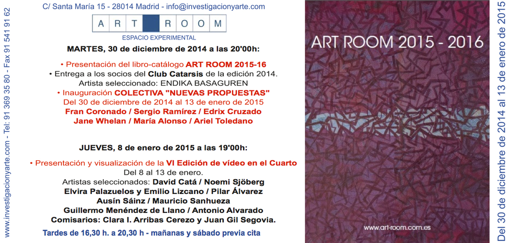 "Invitation card to the exhibition ""Nuevas Propuestas"" at the ART ROOM in Madrid, Spain"