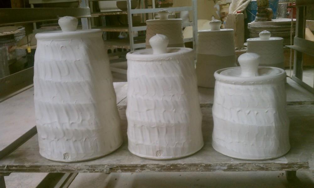 Canister Set - Stoneware w/Porcelain Slip