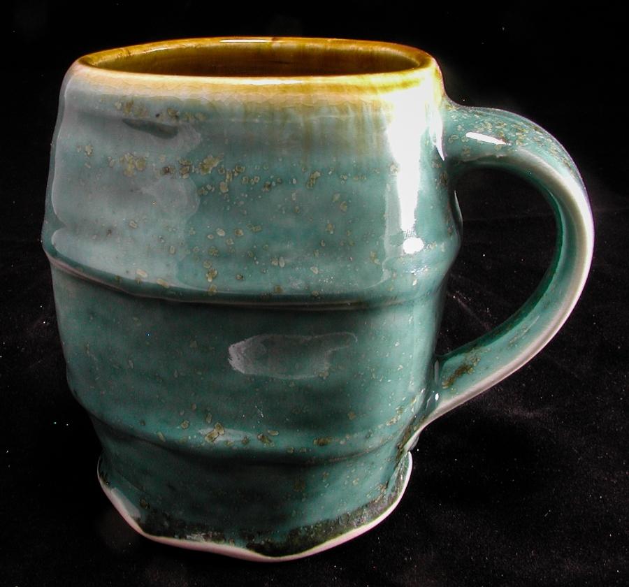 Porcelain Mug, Green Ash Glaze