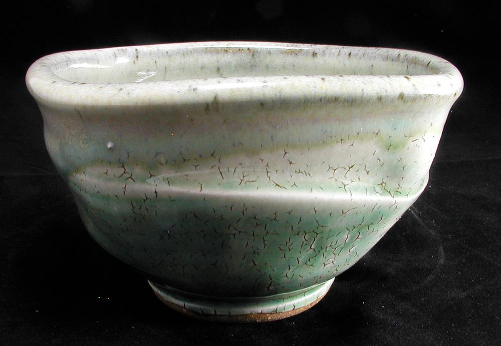 Stoneware bowl, crackle slip, green ash, chun glazes