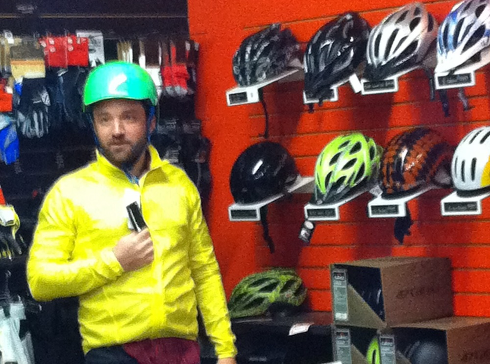 Eben Weiss, AKA BikeSnobNYC, in an awesomely teal helmet at  On The Route Bikes