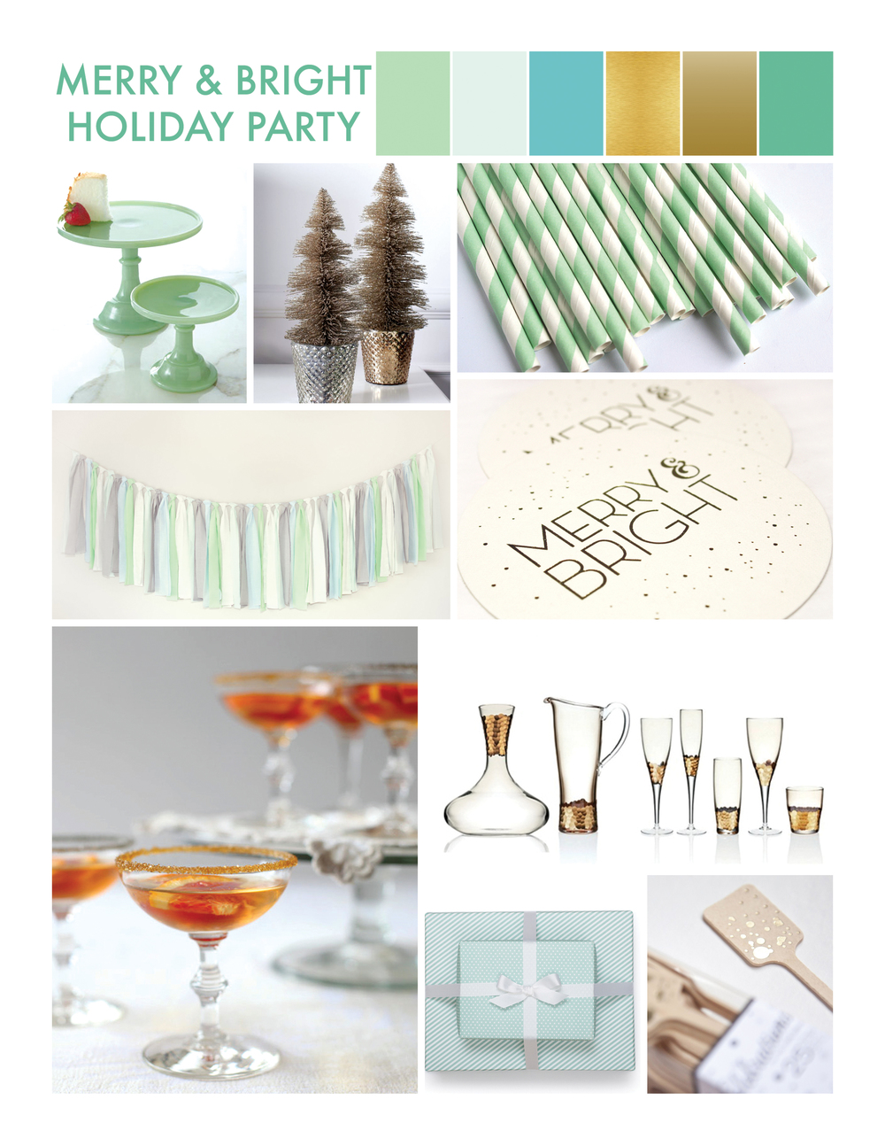 A very merry & bright green and blue holiday party
