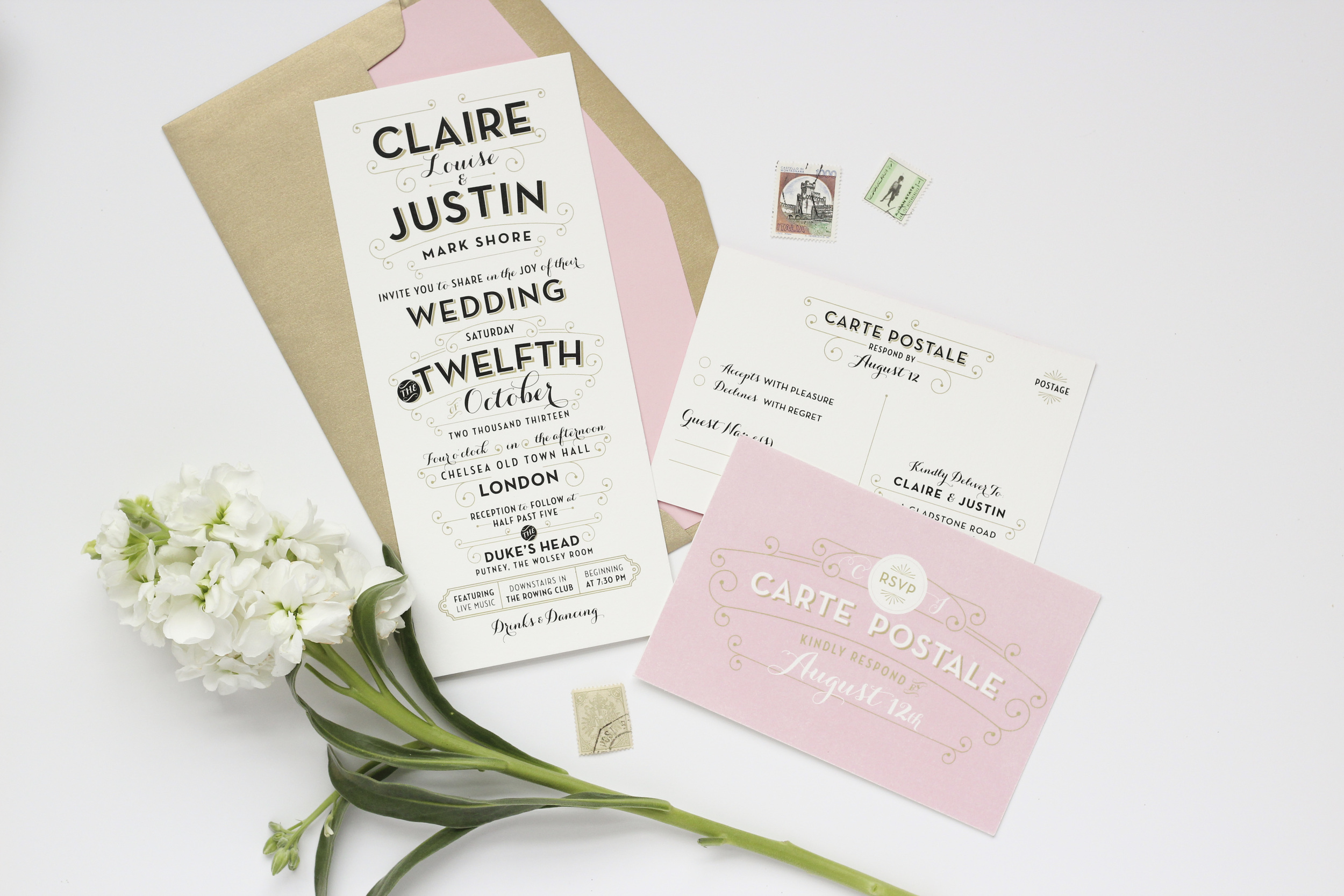 Custom Invitations with a Touch of Vintage Charm