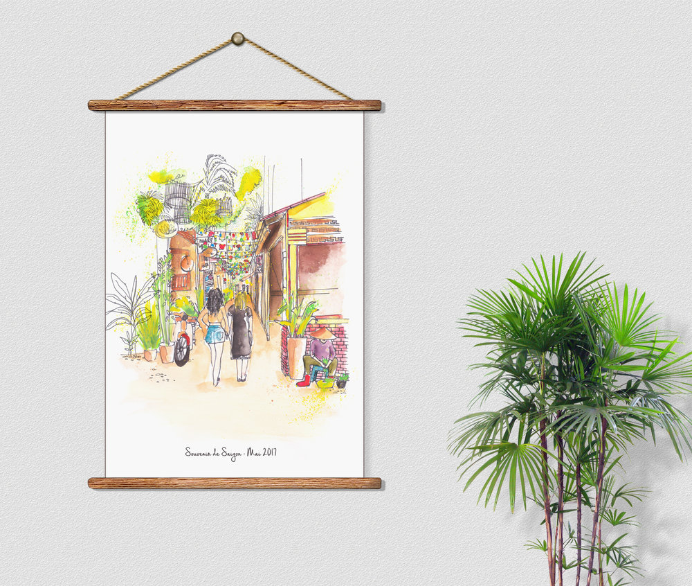 Souvenir de Saigon, Custom illustration by Marie Pottiez