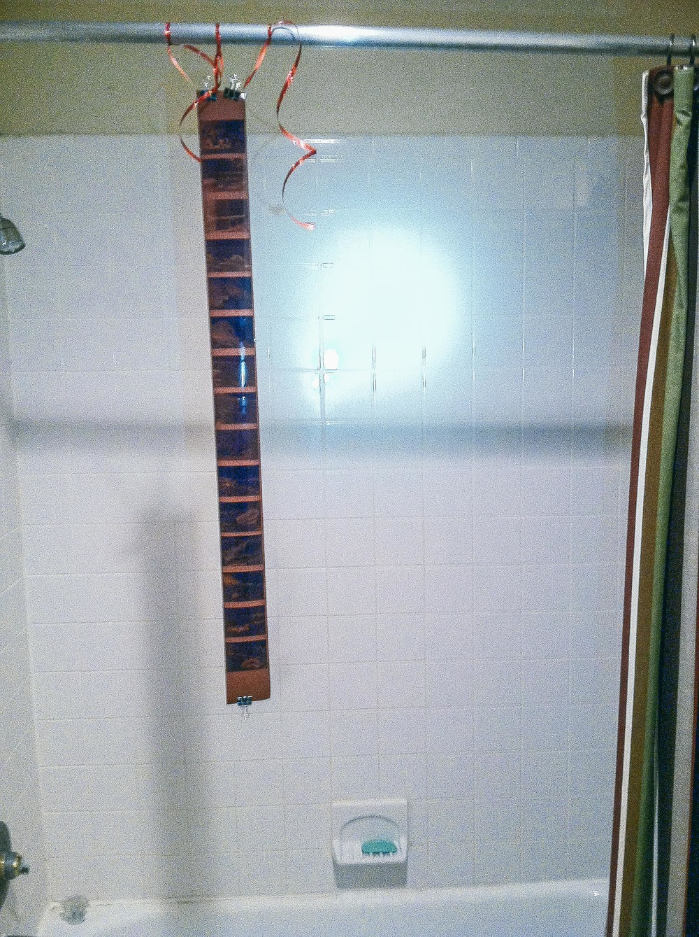 Negatives! Hanging in the shower. I should really come up with a less ghetto solution
