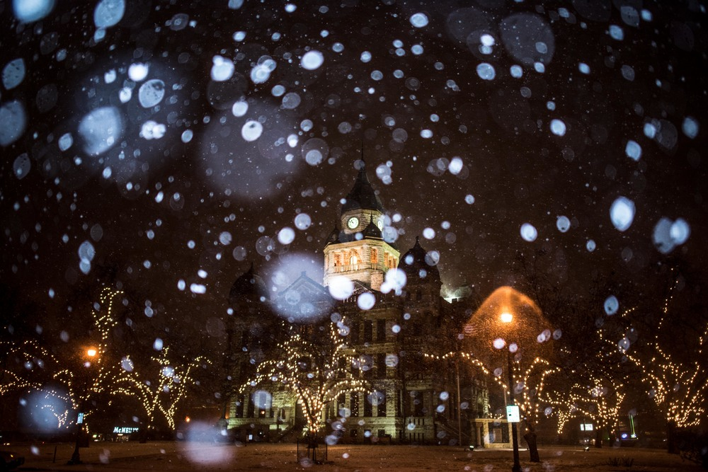 Denton Courthouse Snow