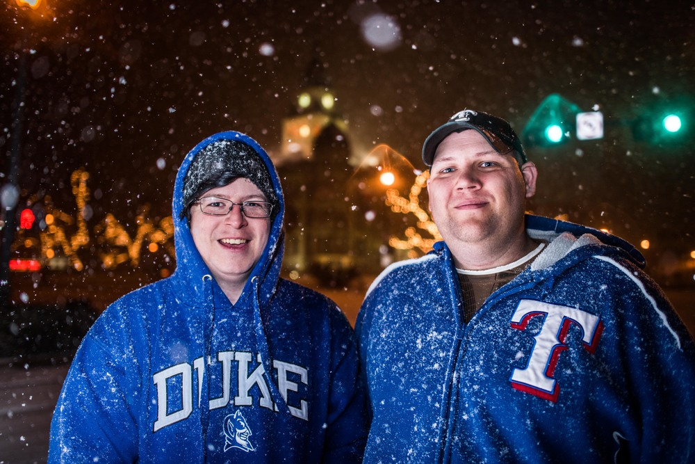 Duke and Texas were thrilled with the snow, claiming it was a beautiful alternative to last weeks obnoxious ice storm.