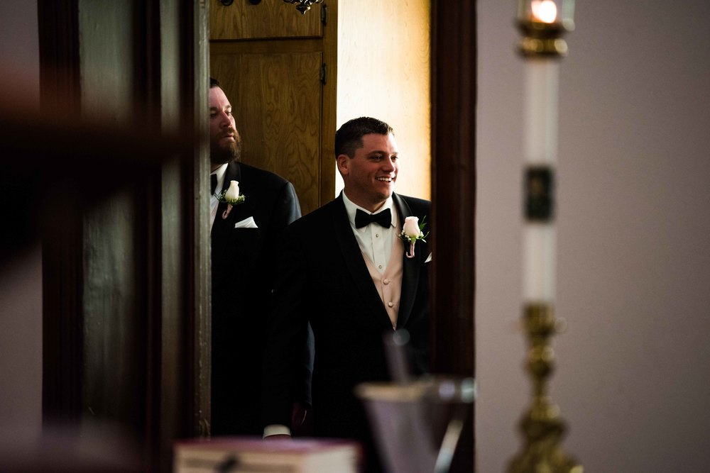 The groomsmen backstage before the ceremony