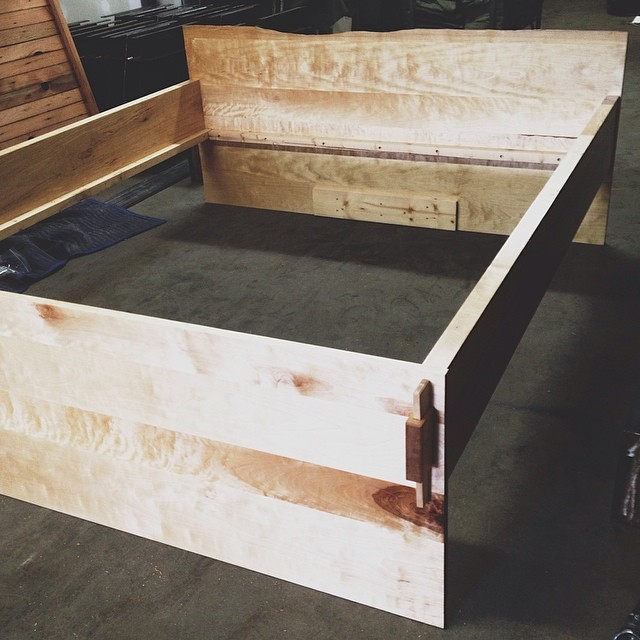 Birch Bed. Wedged mortis and tenon joinery for easy assembly/disassembly.